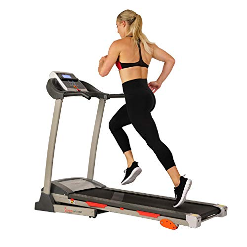 Sunny Health & Fitness Treadmill Motorized Running Machine with LCD Display, Tablet Holder, Shock Absorption, 220 LB Max Weight and Folding Running Belt