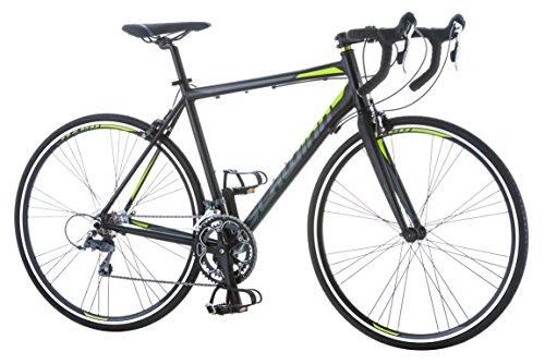 Schwinn Phocus 1600 Drop Bar Road Bicycle for Men, Featuring 56cm/Large Aluminum Step-Over Frame and Carbon Fiber Fork with Shimano 16-Speed Drivetrain and 700c Wheels, Black